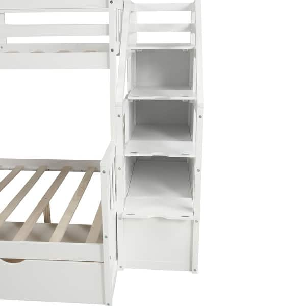 Merax Twin Over Full Bunk Bed With Slide Drawers Storage Stair For Kids On Sale Overstock 31434191