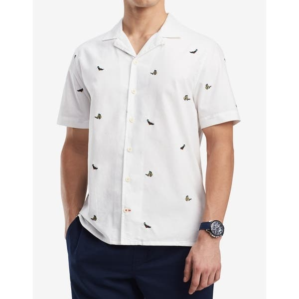 Tommy Hilfiger Men/'s NWT White with Tommy H Prints Lines Button-Up Shirt MEDIUM
