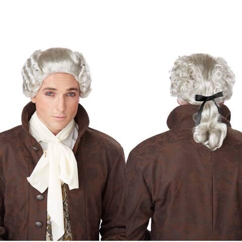 Mens 18th Century Grey Peruke White Costume Wig - Standard - One Size