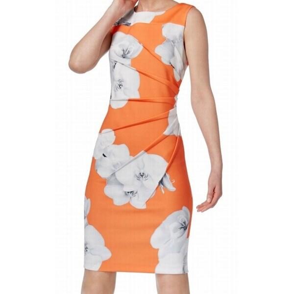 Shop Calvin Klein NEW Orange Womens 4 Starburst Floral-Print Sheath ... 7fd19000d9