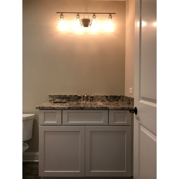 shades for bathroom vanity lights. Millennium Lighting 7334 Brighton 4 Light 33  Wide Bathroom Vanity with Glass Shades Free Shipping Today Overstock com 20006374