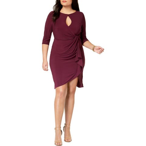 Love Squared Womens Plus Cocktail Dress Elbow Sleeves Cut-Out - 1X