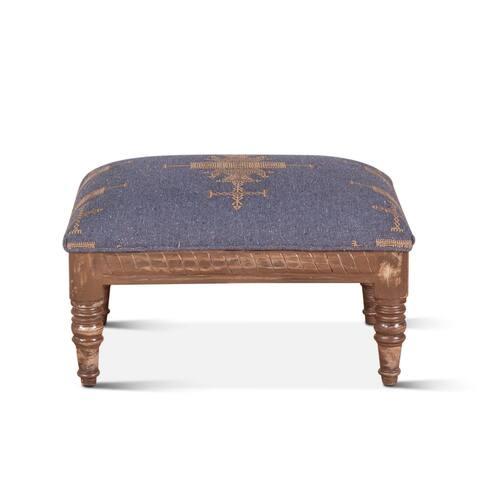 Algiers Blue Upholstered Stool