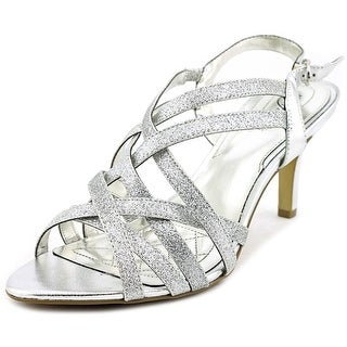 Alfani Alisa Women Open-Toe Canvas Silver Slingback Heel