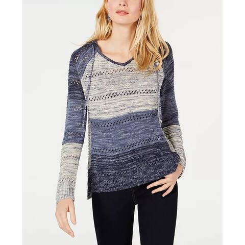 INC International Concepts Women's Open-Knit Hooded Sweater Navy Size Extra Small - X-Small