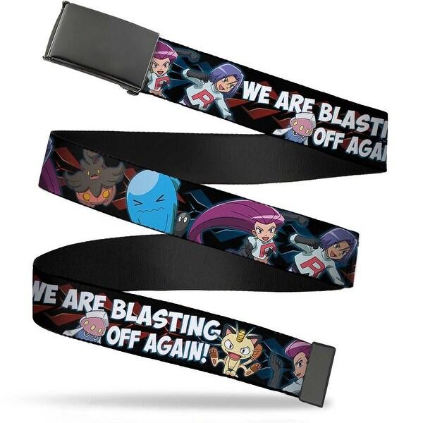 Blank Black Buckle Team Rocket & Pokemon We Are Blasting Off Again! Web Belt