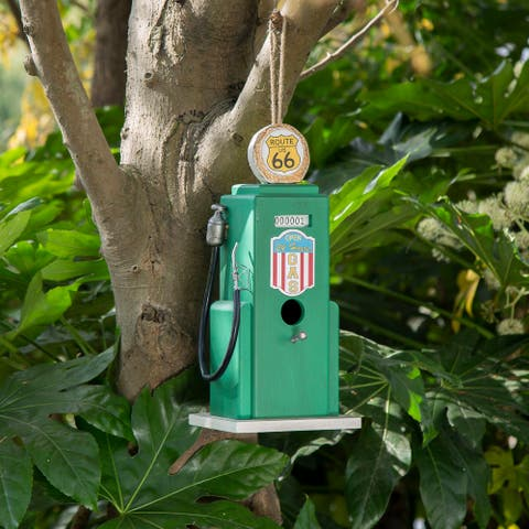 "Glitzhome 13.75""H Wood Gas Pump Hanging Birdhouse"