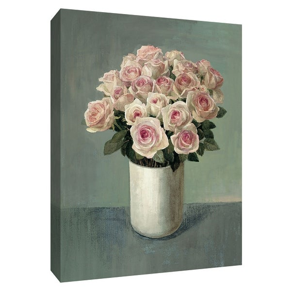 "PTM Images 9-154564 PTM Canvas Collection 10"" x 8"" - ""Roses in White Vase"" Giclee Roses Art Print on Canvas"