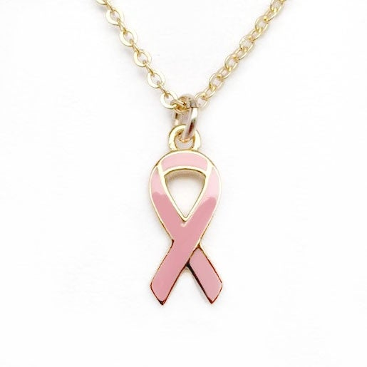 "Julieta Jewelry Pink Awareness Ribbon Gold Charm 16"" Necklace"