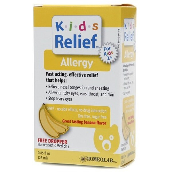 Homeolab USA Kids Relief Allergy Drops, Ages 2+, Banana Flavor 0 85 oz