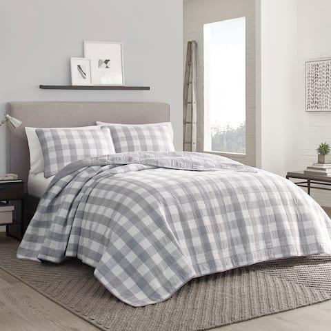 Eddie Bauer Lakehouse Cotton Grey Quilt Set