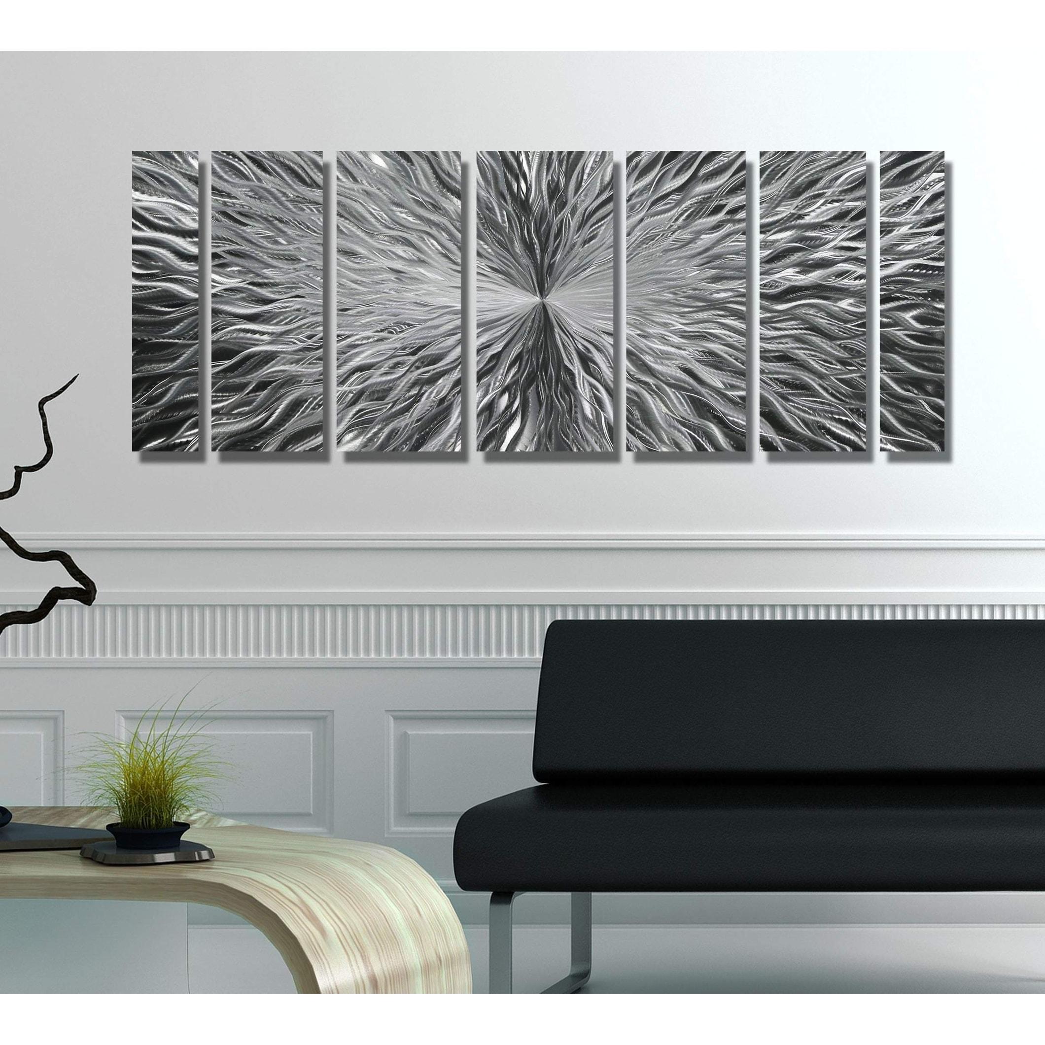 Jon Allen Metal Wall Art Large Silver Abstract Hanging Sculpture Decor Vortex