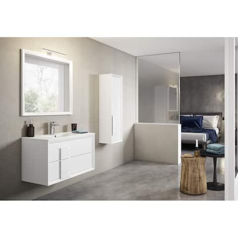 "Lucena Bath 32"" Decor Cristal Vanity 2 Drawer with Ceramic Sink"