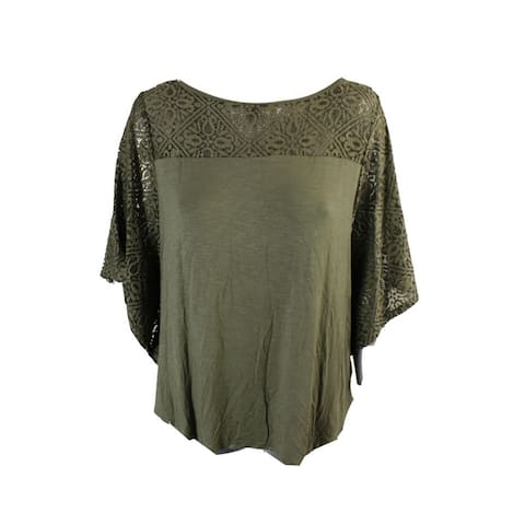 Style & Co Olive Lace-Trim Poncho Top S