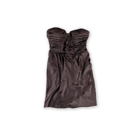 bebe Womens Charmed Silk Strapless Dress, brown, X-Small