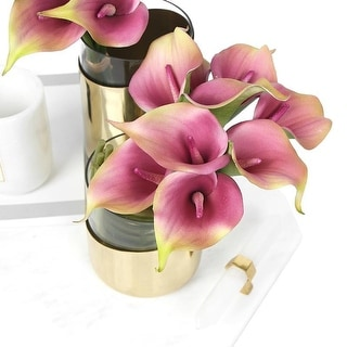 """FloralGoods Real Touch 9 Calla Lily Bouquet in Pink 13"""" Tall"""