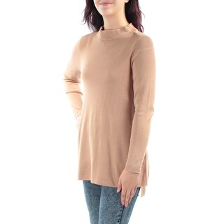 Womens Brown 3/4 Sleeve Turtle Neck Casual Top Size M