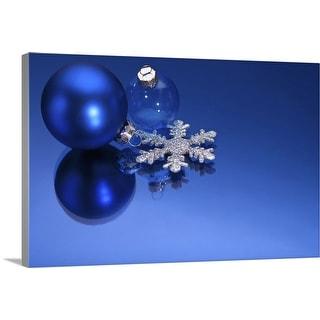 """Blue Christmas decorations"" Canvas Wall Art"