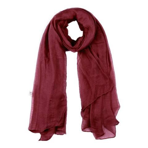 "Long Warm Shawl Large Soft Solid Color Scarf for Women Men Burgundy-1 - Burgundy - 75""x 55"""