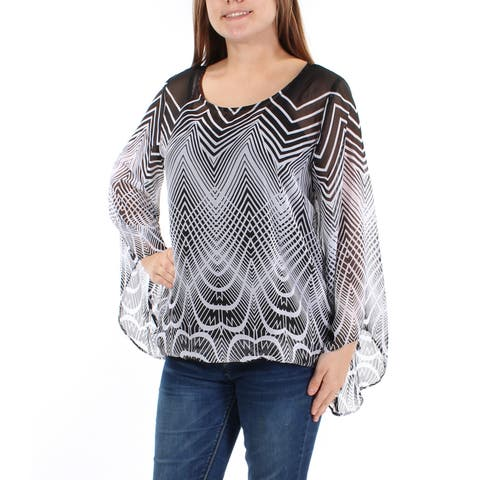 e50fd906 ALFANI Womens Black W/cami Geometric Bell Sleeve Scoop Neck Top Size: S