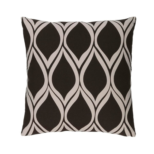 """22"""" Falling Drops Black Coffee with Cloud Gray Decorative Throw Pillow"""