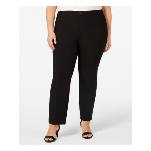 CHARTER CLUB Womens Black Straight leg Wear to Work Pants Size 24W