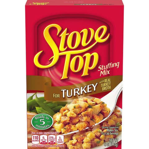 Stove Top Stuffing Mix, Turkey 6 Ounce - Pack of 2 - 6 Oz