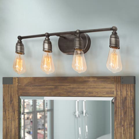 "LNC Rustic 4-light Wall Bathroom Vanity Lighting Wall Sconce Lights - W27.6""X H4.7""X E4.3"""