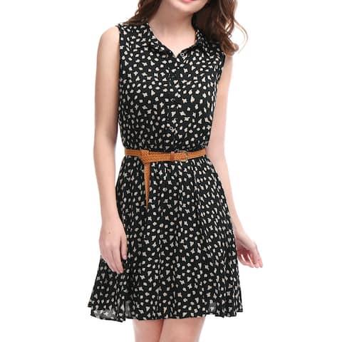 Women Daisy Print Sleeveless Unlined Belted Shirt Dress Black M