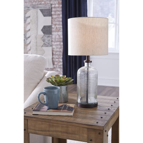 "Bandile Modern Farmhouse Glass Table Lamp - 10""W x 10""D x 22""H"