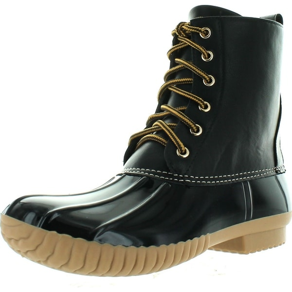 Cape Robbin Muriel-8B Women's Lace Up Two Tone Duck Rain Shoes High Top Ankle Booties - Black
