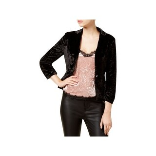 XOXO Womens Juniors One-Button Blazer Crushed Velvet Ruched - S