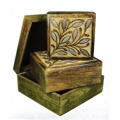 Wooden Jewelry Box, Set Of 3, Brown
