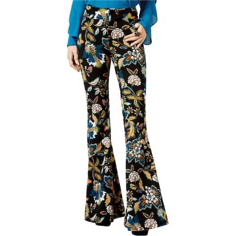 I-N-C Womens Printed Flared Casual Wide Leg Pants, Black, 2 Regular