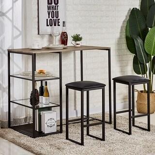VECELO Home Kitchen Counter Dining Table Sets Metal Framework (3PCS)