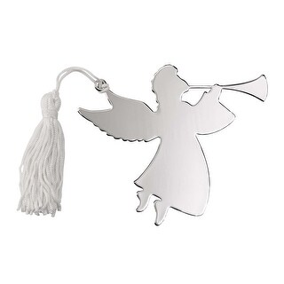 """3.5"""" x 4.5"""" Silver Angel Trumpeter Ornament"""