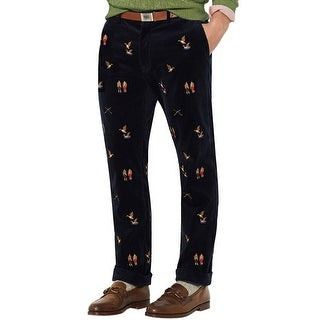 Polo Ralph Lauren Emroidered Flat Front Corduroy Pants Navy 38 x 32