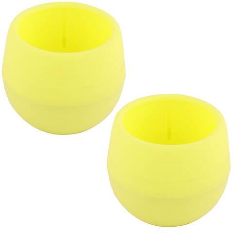 Office Plastic Round Desktop Decor Plant Holder Container Flower Pot 2pcs - Yellow