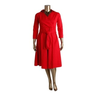 Mixinni Womens Crossover Long Sleeve Wear to Work Dress - XL