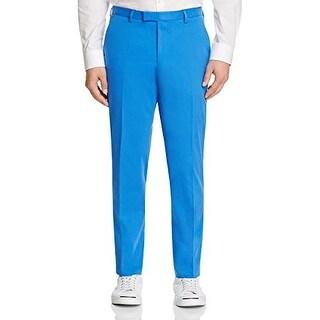 Hugo Boss Stretch 'Leenon' Bright Blue Solid Flat Front New Men's Dress Pants