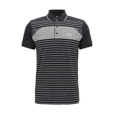 Hugo Boss Men's Paddy 5 Black Striped Polo T-Shirt