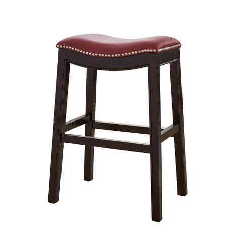 New Ridge Home Goods Julian Counter Height Barstool With Red Faux Leather Seat - N/A