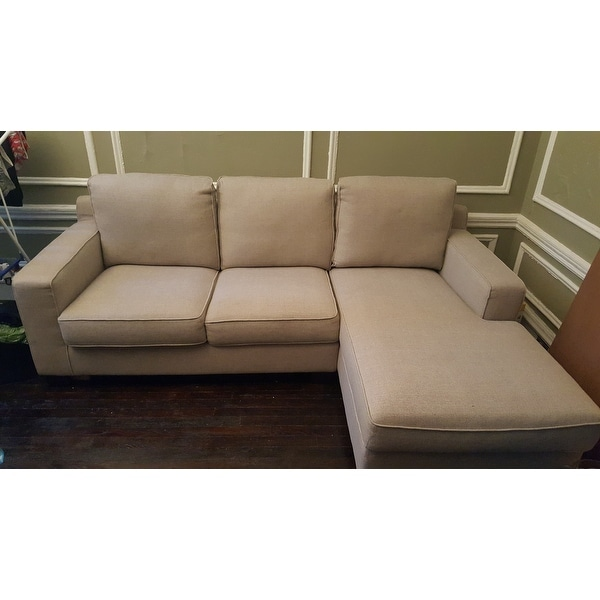 Shop Sectional Sofa With Chaise In Light Grey On Sale Free