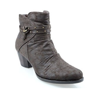 Eyekepper Women's Side Zipper Ruched Upper Ankle Boots with Double Buckle Strap Brown