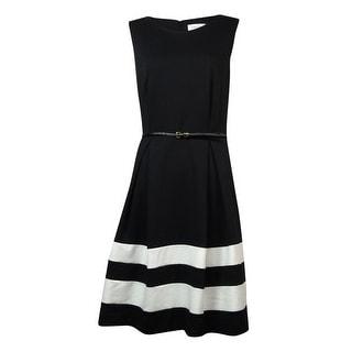 Calvin Klein Women's Belted Striped Hem Ponte Dress