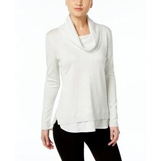 Calvin Klein Metallic Cowl Neck Layered Look Sweater Top - xL