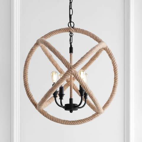 "Soka 4-Light 20"" Adjustable Rope Globe LED Chandelier, by JONATHAN Y"