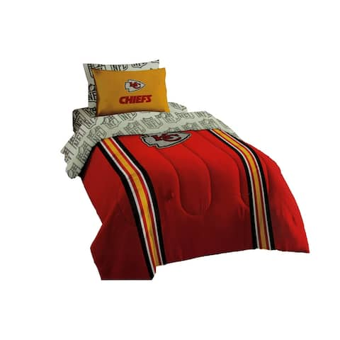 NFL Kansas City Chiefs 5 Piece Comforter Set - Twin Size - Red - 1 X 86 X 64 inches