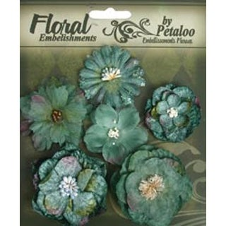 "Blue & Green - Floral Embellishments Mixed Blooms 1.5"" To 2.25"" 6/Pkg"