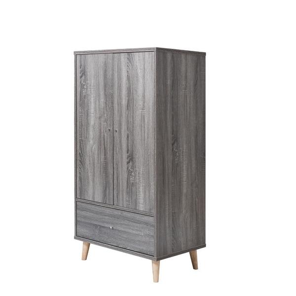 Carson Carrington Gjovik Contemporary Distressed Grey Wardrobe Armoire. Opens flyout.